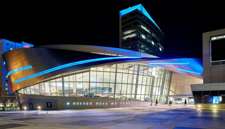 NASCAR Hall of Fame lit blue for Panthers' Super Bowl 50 appearance © 2016 Thomas Geist